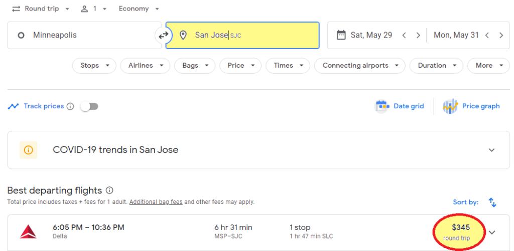 online flight search from msp to sjc