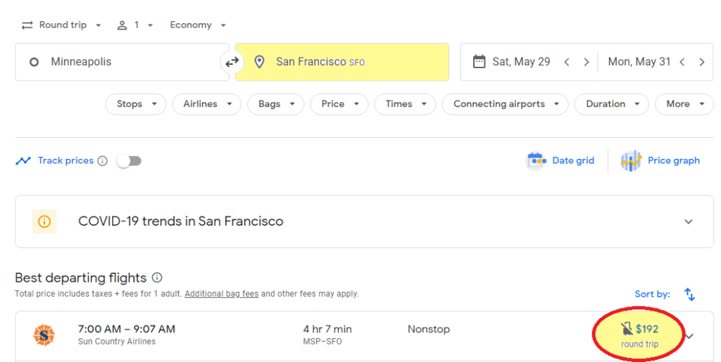 online flight search from msp to sfo