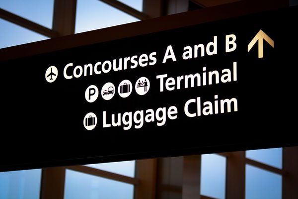 Picture of Detroit airport terminal sign.
