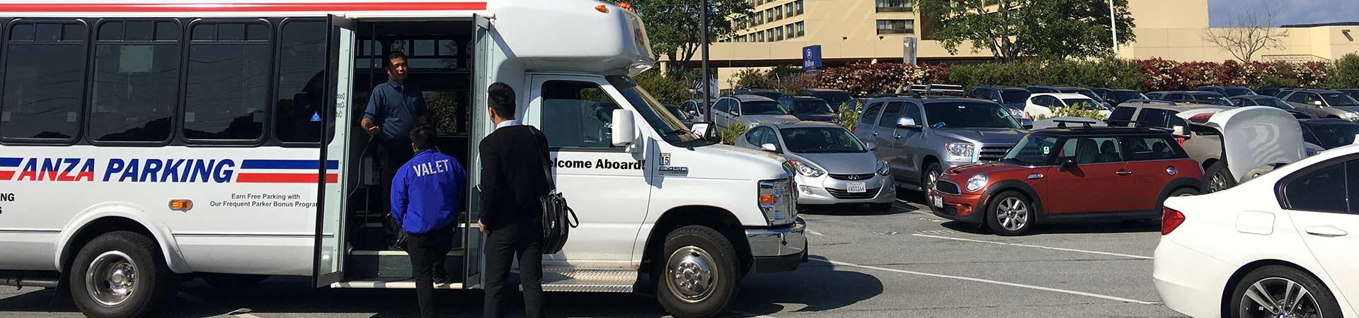 Shuttle Pickup in Parking Lot to SFO