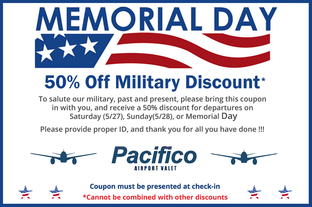 Download or print the Pacifico Airport Valet parking coupons.