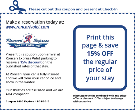 Roncari Valet Parking Coupon